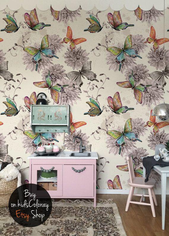 Fairytale Butterfly Wallpaper Watercolor Girly Wall Mural Etsy Butterfly Wallpaper Mural Wallpaper Wall Murals