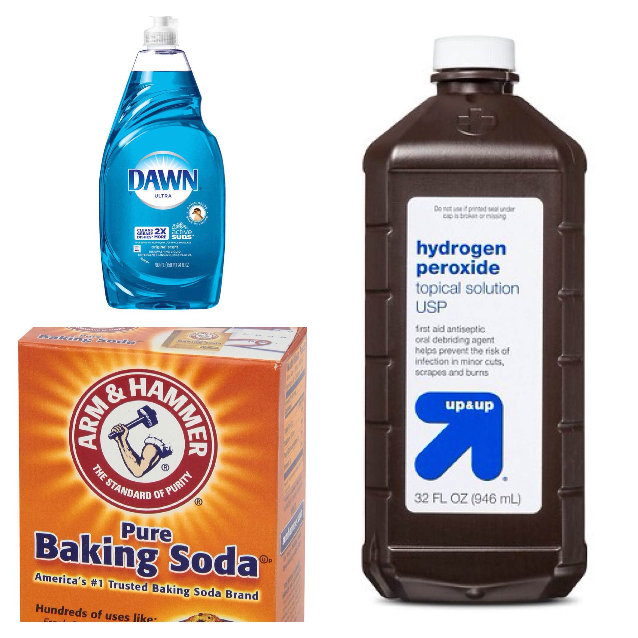 Mix 1 Tsp Dawn Liquid Dish Detergent 3 4 T Hydrogen Peroxide 2 3 T Baking Soda Apply To Stain And Scrub With Dish Detergent Soda Brands Dish Soap Bottle