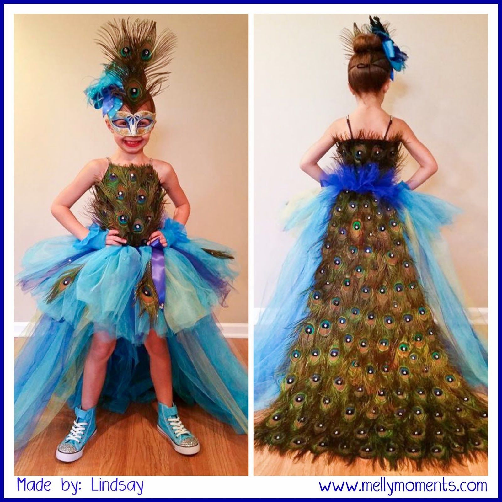 e4bcebb08 DIY Halloween Costumes on Melly Moments Blog! Come check out this  incredible peacock costume! From every little detail, head to toe, any  little girl would ...