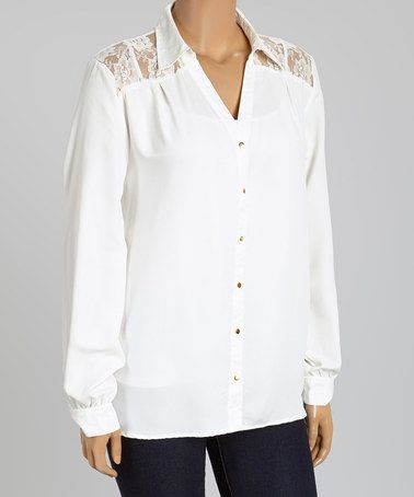 Love this Ivory Lace-Shoulder Button-Up - Plus on #zulily! #zulilyfinds