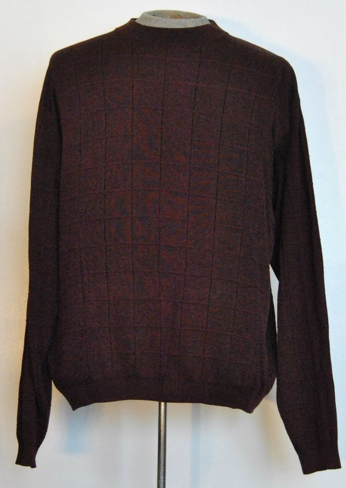 Bachrach Sweater 2XL Mens Long Sleeve Red Plaid 100% Silk  #Bachrach #Crewneck free shipping Buy Now  $23.47