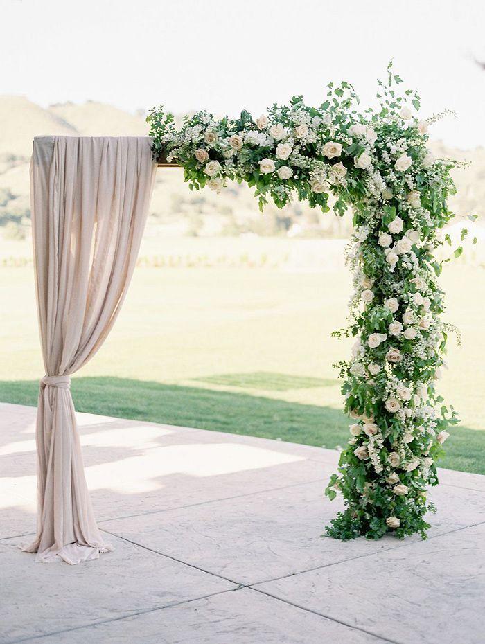 25 trending wedding altar arch decoration ideas arch romantic romantic half fabric and half floral decorated wedding arch ideas junglespirit Choice Image