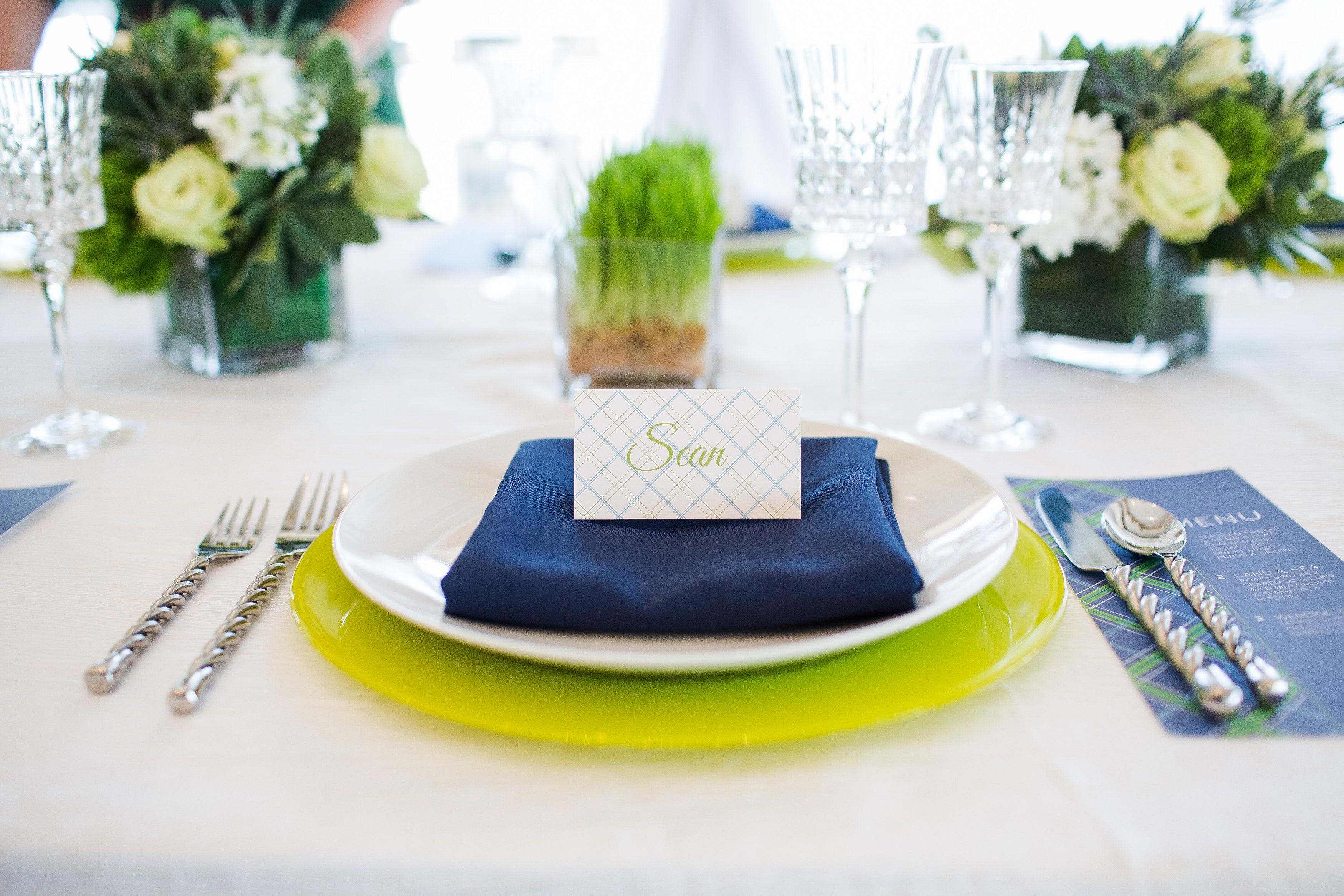 Lime green, navy blue and white make for a fun golf themed wedding ...