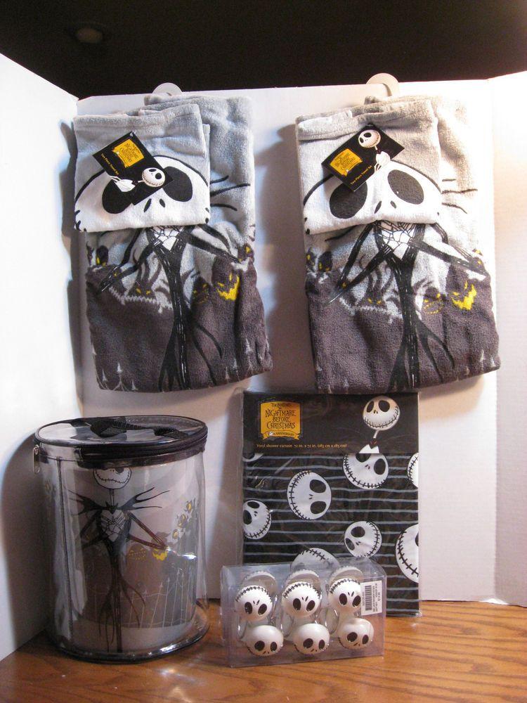 Nightmare Before Christmas Wastebasket Set Shower Curtain Hooks Towel