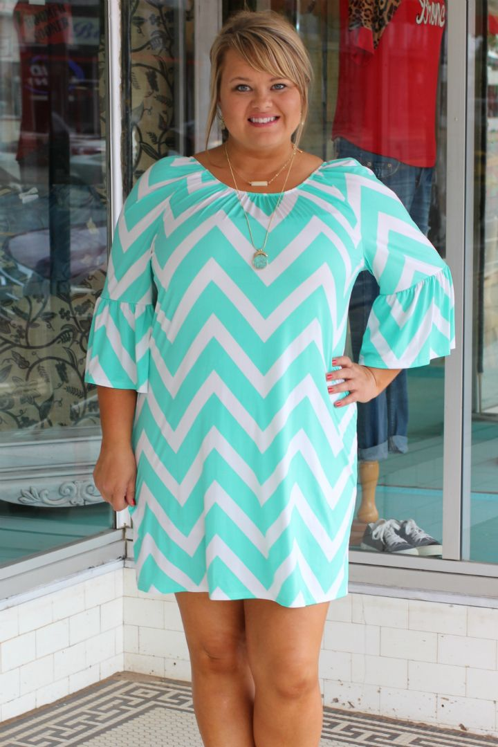 One Faith Boutique - Places To Go Chevron Print Dress With Bell Sleeves ~ Mint ~ Sizes 12-18, $35.00 (http://www.onefaithboutique.com/new-arrivals/places-to-go-chevron-print-dress-with-bell-sleeves-mint-sizes-12-18/)