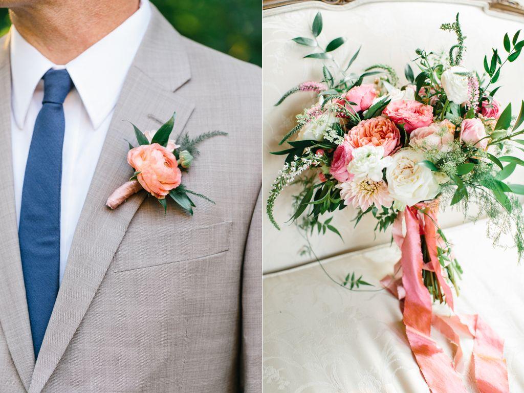 Stunning Summer Wedding Bouquets Coral Ranunculus Boutonniere Mens