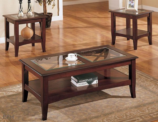 New 3pc Belgrade Gl Insert Warm Cherry Finish Wood Coffee End Table Set