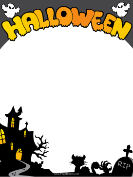 image regarding Free Printable Halloween Borders called This no cost, printable Halloween border capabilities ghosts, black