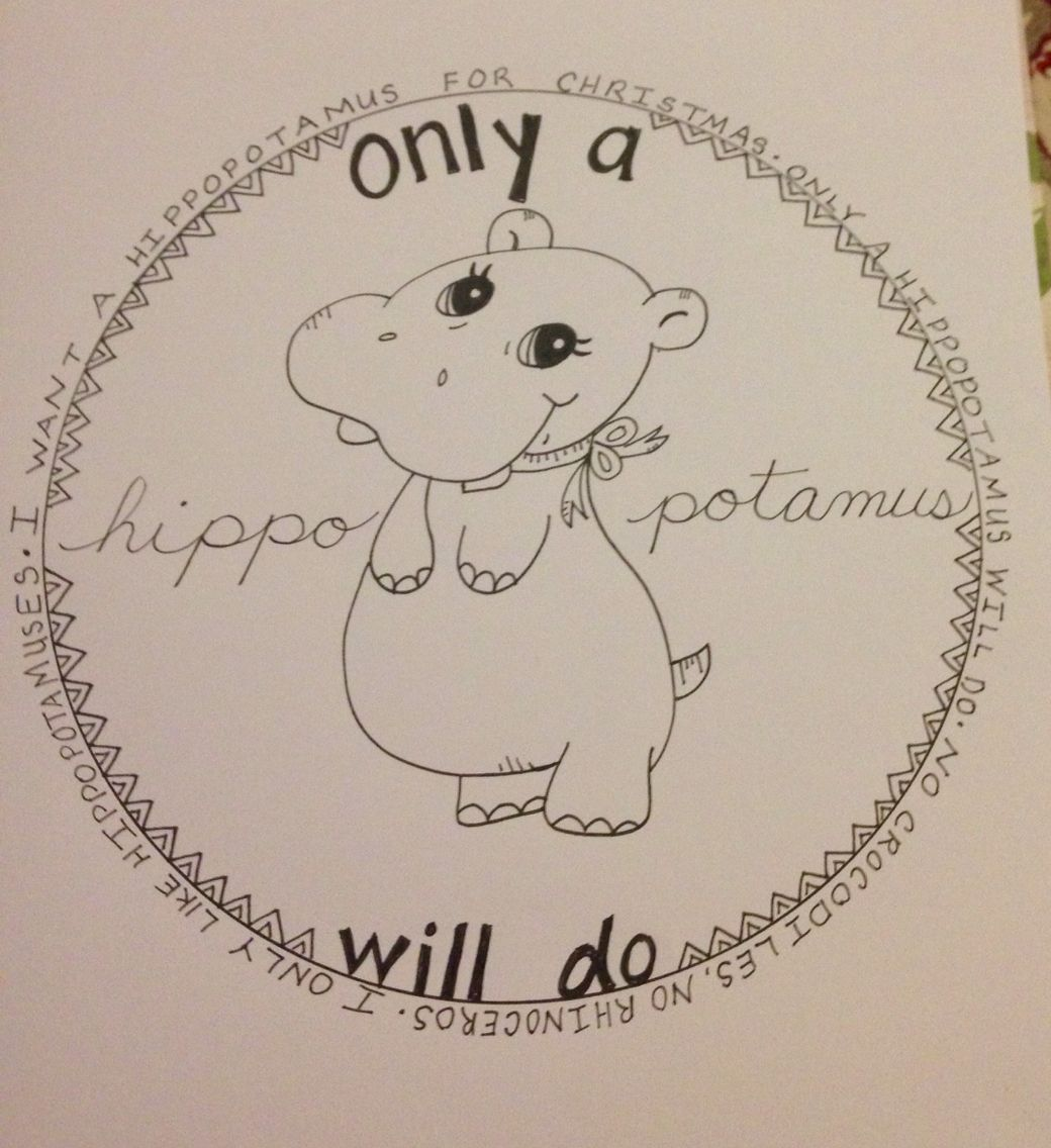 All I want for Christmas is a hippopotamus | Christmas Song Art ...