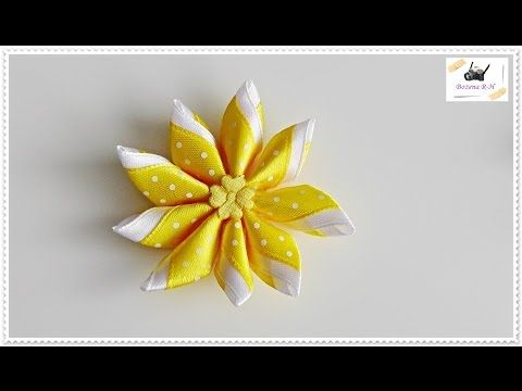 Today I Will Show You Fast And Easy Way To Make Bouquet Made From Ribbon Roses Needed Items Half Of Styrofoam Kanzashi Flowers Diy Hair Bows Ribbon Roses