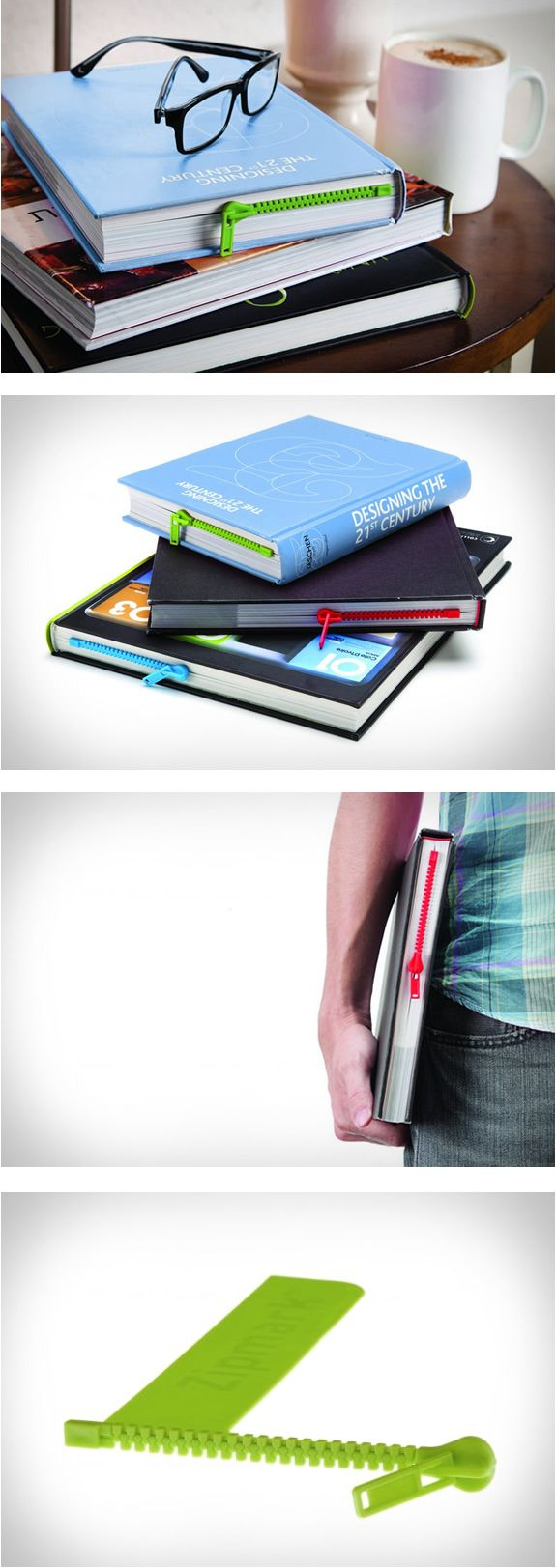 Fun product by Peleg Design, the Zipmark is a bookmark book page holder in the shape of a zipper.