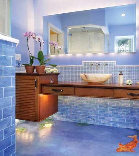Digital Art Gallery floors that look like water bathroom flooring Incorporate the Art on Painted