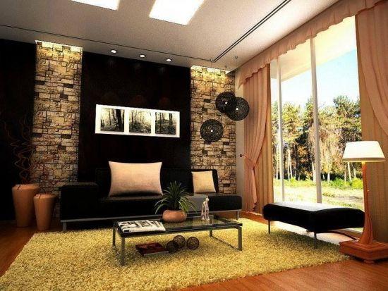 Zugraveala Neagra Si Placaje Cu Piatra Decorativa Living Modern