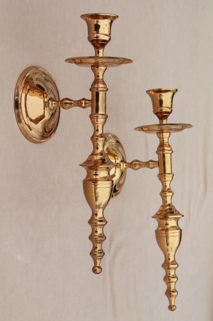 Vintage Wall Sconce Set Pair Of Polished Solid Brass Candle Sconces  Laurel Leaf Farm