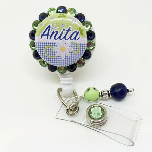Navy & Green Daisy Personalized Bling Badge Holder