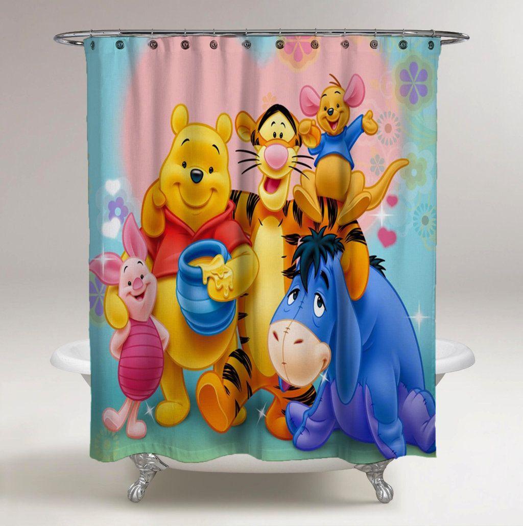 New Winnie The Pooh Friendly Custom Waterproof Fabric Shower Curtain Bathroom
