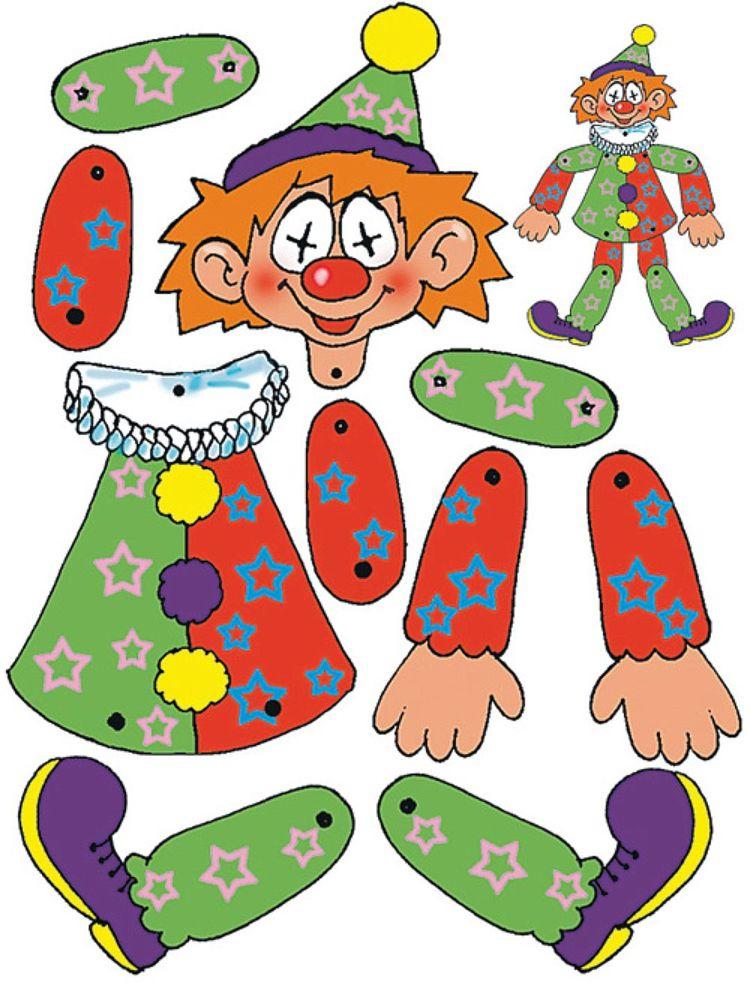 Beweglicher Clown Basteln Vorlage Ausdrucken Körperteile Basteln