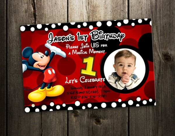 Free Printable Mickey Mouse 1st Birthday Invitations party ideas - mickey mouse invitation template