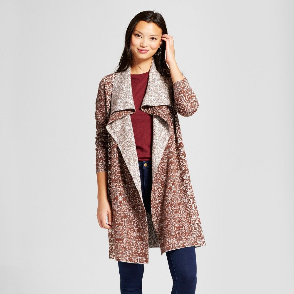 Women's Jacquard Open Duster Cardigan - Knox Rose Red Xxl ...