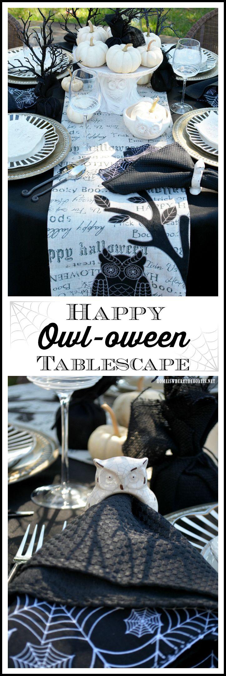 Happy Owl-oween Tablescape | homeiswheretheboatis.net #Halloween
