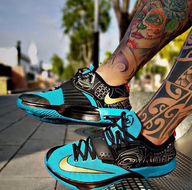 #teal #Nike #shoes #tattoos #legs #black #paradise