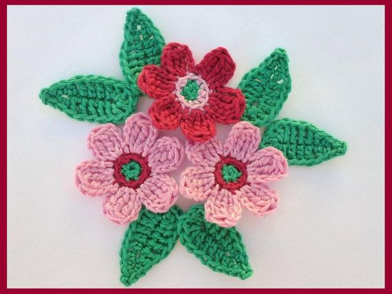 3 rosas de ganchillo hecho a mano con 6 Hojas De Adorno