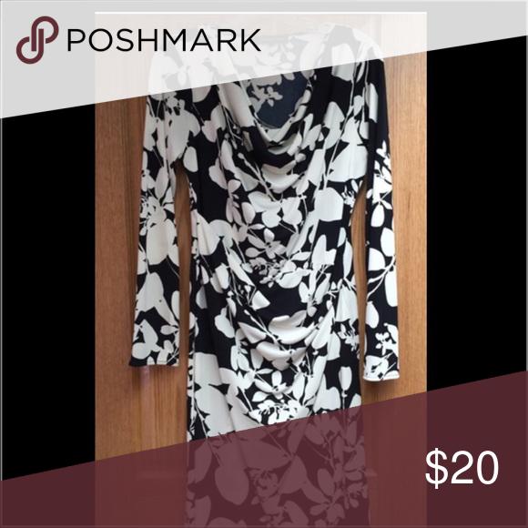 Jones new york black and white floral dress