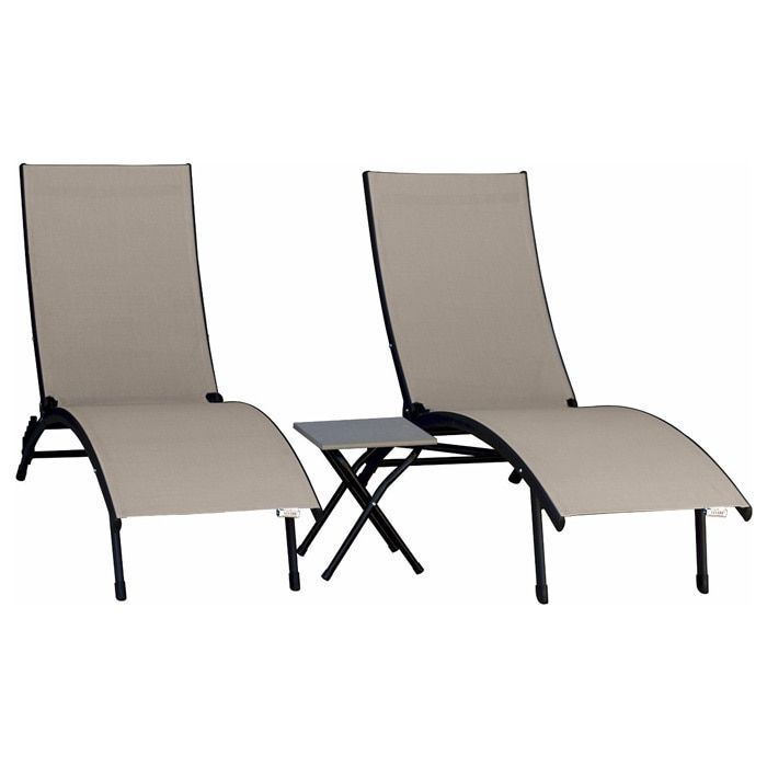 Vivere Midtown Black Brown Acrylic Mesh Outdoor Patio Sun Lounger Three Piece Set Sun Lounger Vivere Hammock Outdoor Chairs
