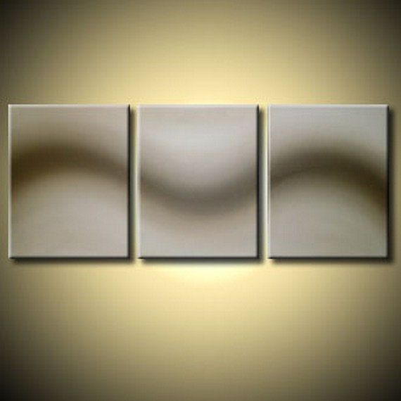 LARGE WALL ART triptych 3 panel wall contemporary cream neutral art ...