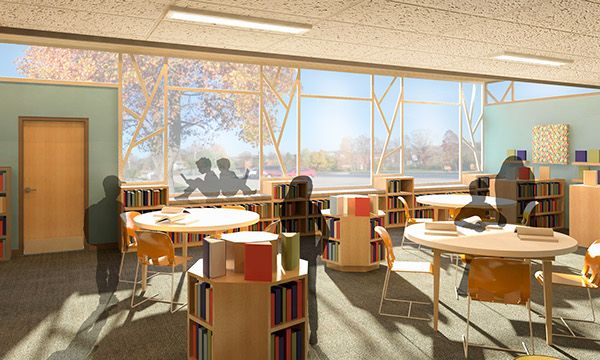 Elementary School Design For A Library, Artroom, And Office Spaces Part 45