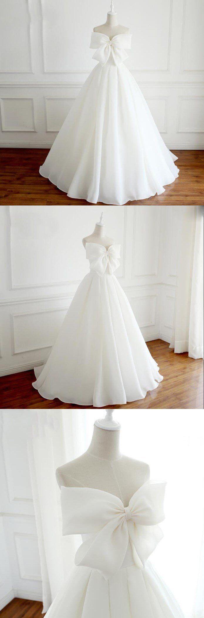 Glamouröse einzigartige neue Design weiße A-Linie elegante formale Jäten Kleider mit Schleife …   – Wedding Dresses