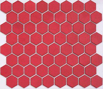 Kiss Red Hexagon Lyric Retro Glazed Porcelain Mosaic