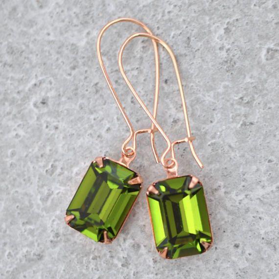 f4997feff Olive Green Rose Gold Bridal Earrings Emerald Cut Bride Swarovski Crystal  Green Vintage Rectangle Dr