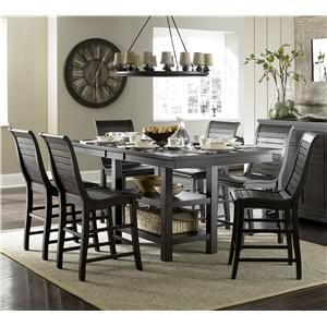 Progressive Furniture Willow Dining 7 Piece Rect. Counter Height Table Set    P812