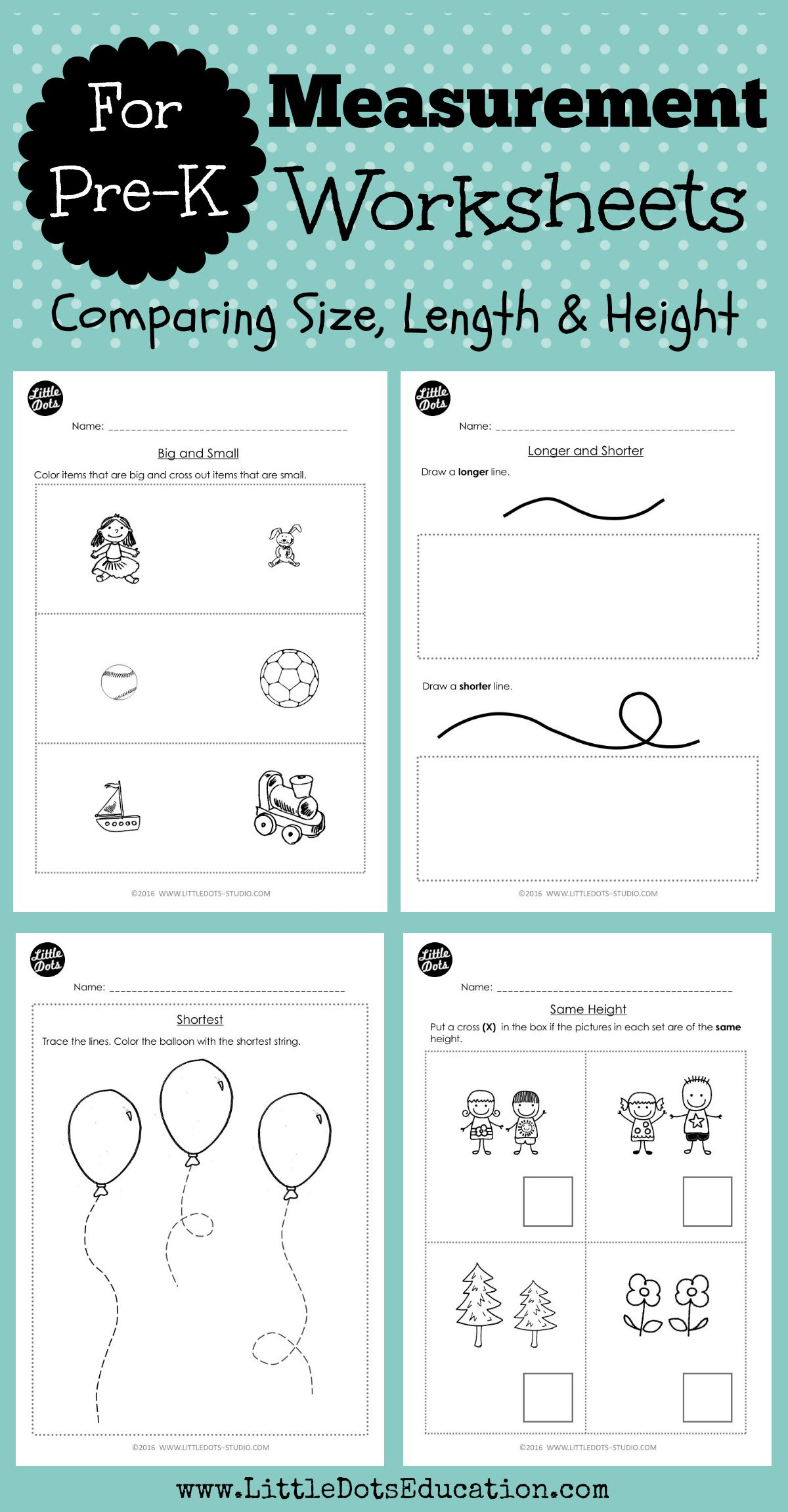 Pre K Measurements Worksheets And Activities