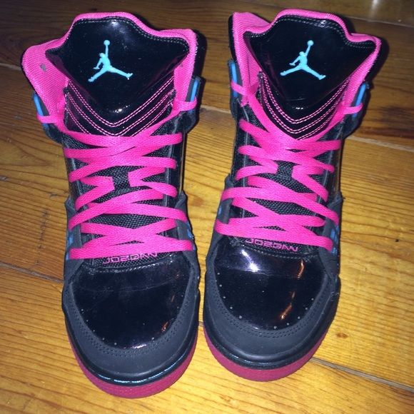 new style fd67b c82d4 Jordan s Black, pink and blue women s girls Jordans. Youth size 6 but they  fit a woman s size 7. High top. Gum sole is splatter with the blue and p   ...