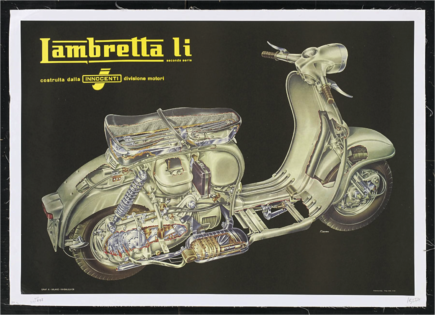 Poster Vintage Lambretta Innocenti Motorcycle Moped Scooter Old Top Quality