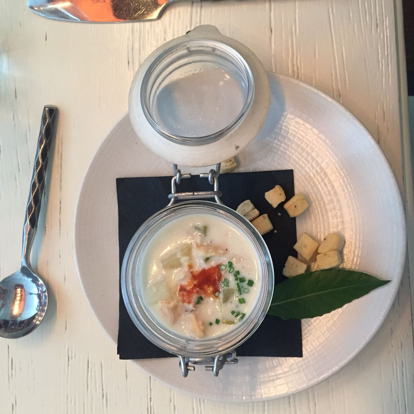Yummy clam chowder from GT Oyster during restaurant week
