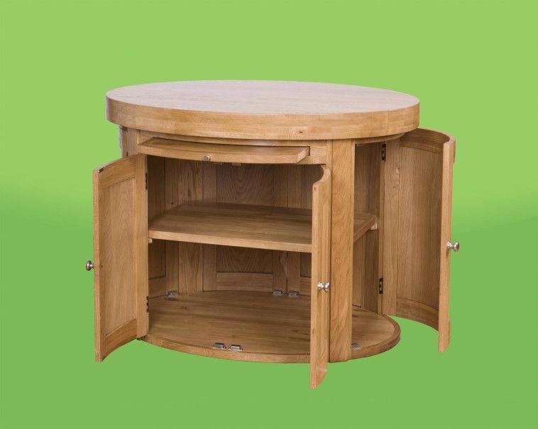 Round Free Standing Kitchen Island With Brilliant Cabinet