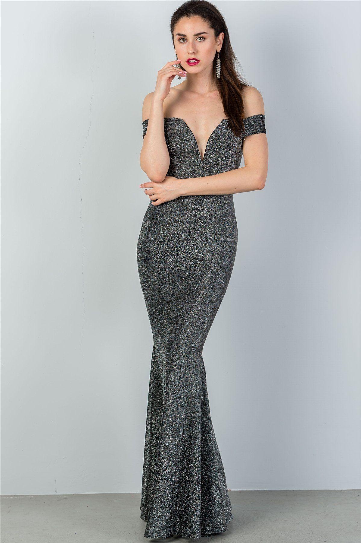 24b923d9e6b0 Ladies Fashion Black   Silver Glitter Off The Shoulder Mermaid Dress ...