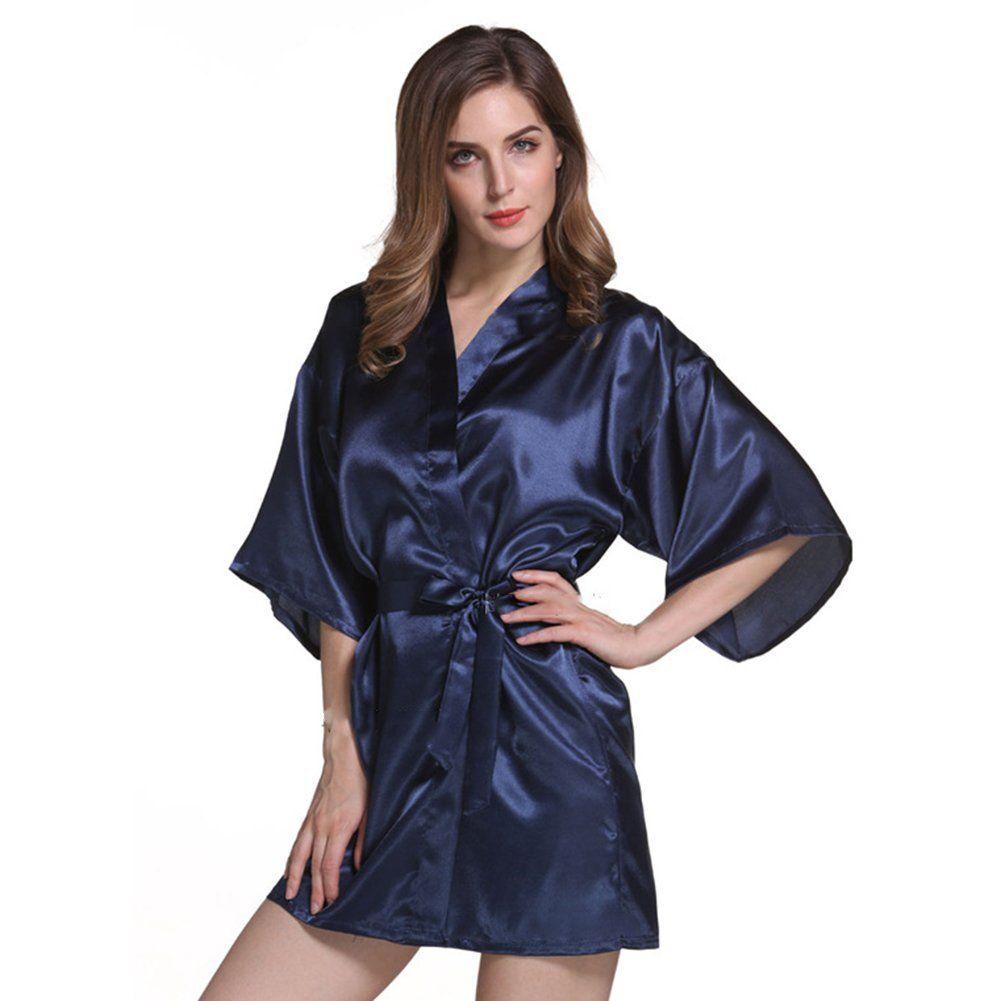 686d866f5e Amurleopard Womens Kimono Robe Knee Length Bridal Lingerie Sleepwear Pure  Colour Short Satin Robe at Amazon Women's Clothing store: