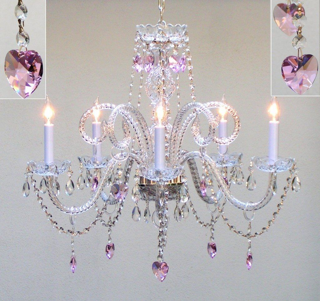 Pink Heart Crystal Chandelier 133 32 Candle Style Bulbs Perfect For Nursery Top