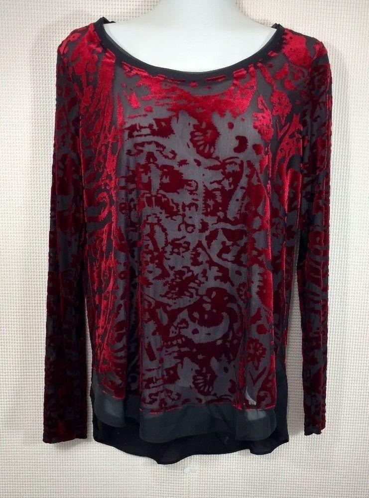 4e400af6426 Simply Vera Wang Black Red Velvet Burnout Top Size S Long Sleeve Burgundy  Sheer #SimplyVeraVeraWang #Blouse