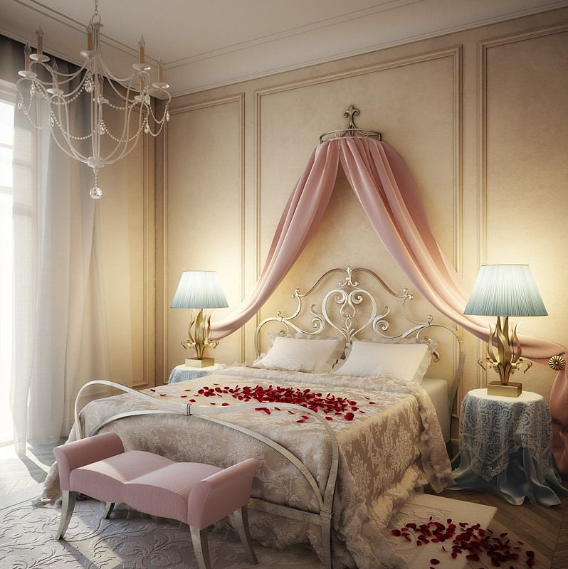 Explore Bedroom Designs, Romantic Bedroom Design, And More! Romantisches  Schlafzimmer Mit Weißem Kronleuchter