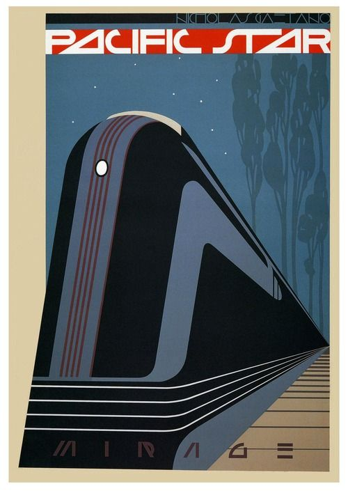 Art Deco poster for Pacific Star Railway