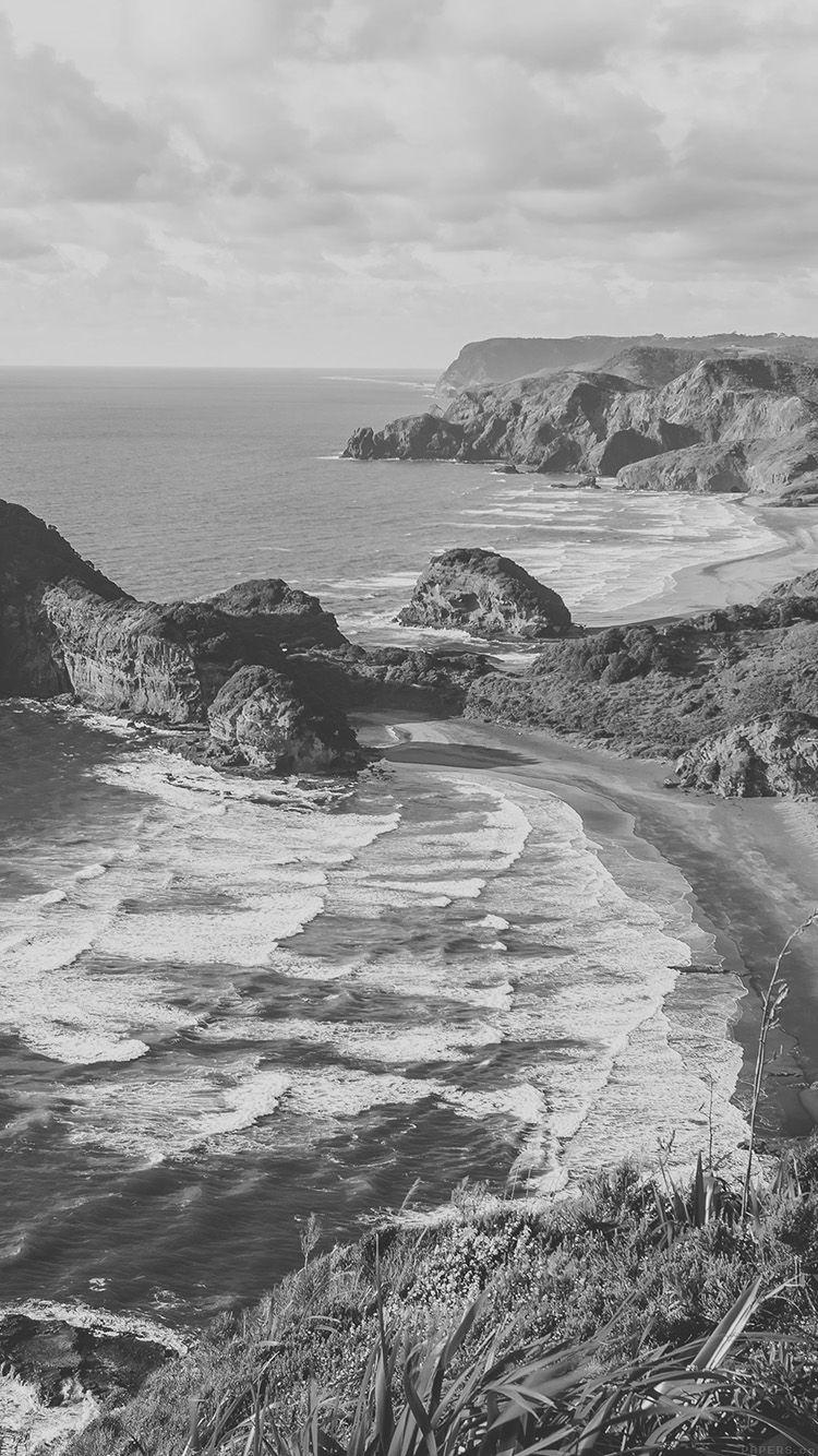 Mn70 Sea Ocean View Water New Zealand Dark Bw Nature Wallpapers