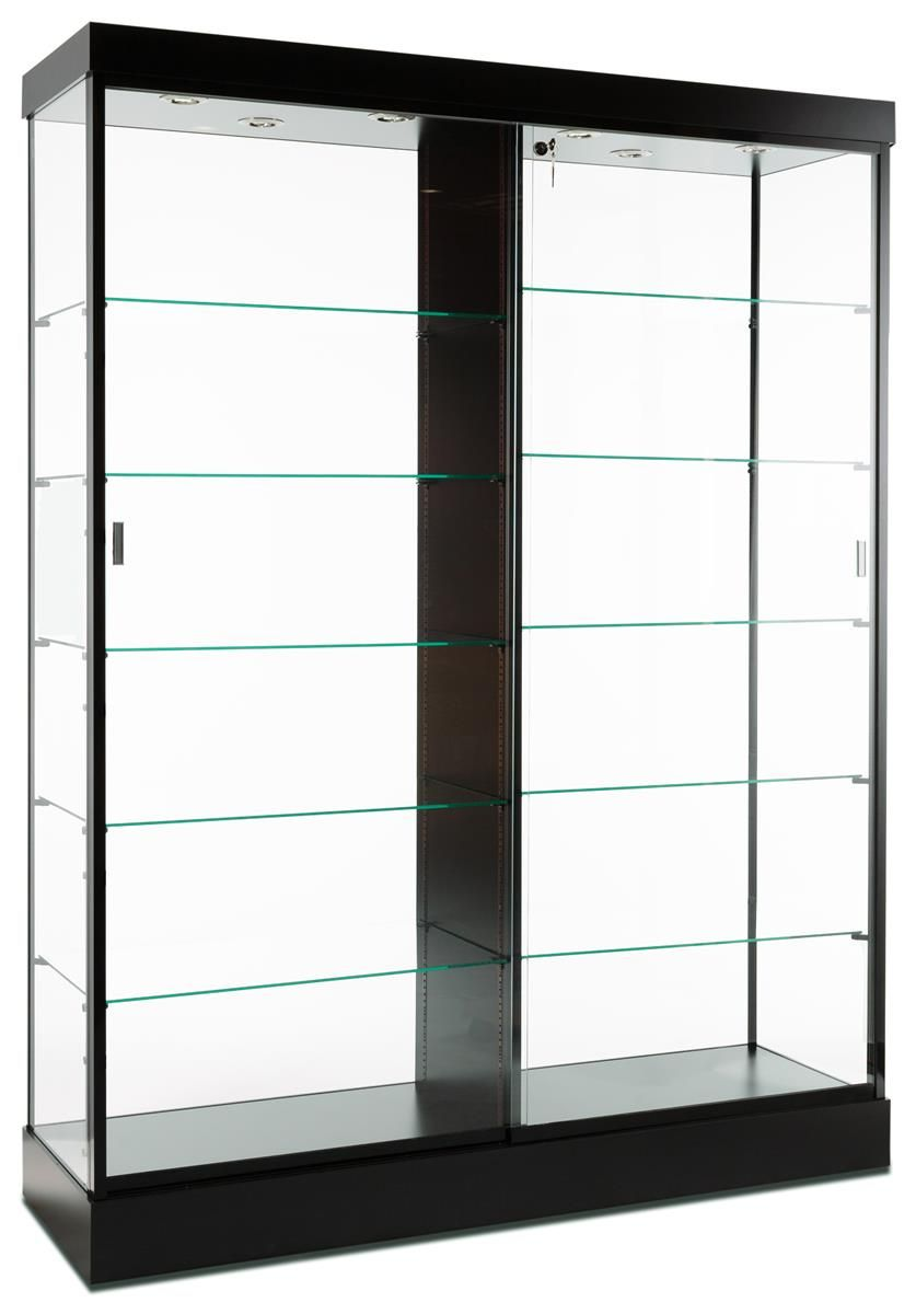 Retail Display Case Silver Finish Hidden Wheels For Mobility Glass Display Case Glass Shelves Retail Display Cases