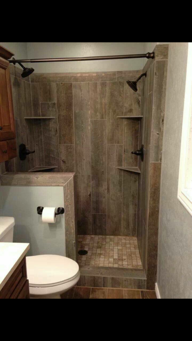 Downstairs Bathroom Half Wall With Toilet Paper Holder And Shower