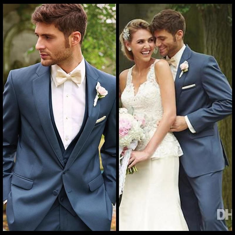 Cheap One Button Royal Blue Groom Tuxedos Best Man Peak Lapel ...