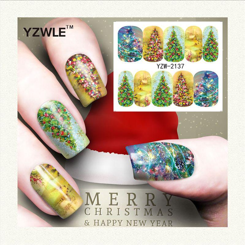 YZWLE 1 Foglio Di Natale di Design FAI DA TE Stickers Nails Art Stampa di Trasferimento Dell'acqua Adesivi Accessori Per Manicure Salon (YZW-2137)